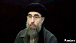 Gulbuddin Hekmatyar, the leader of the Afghan Islamist organization Hezb-e Islami, in a screen grab from a 2007 video.