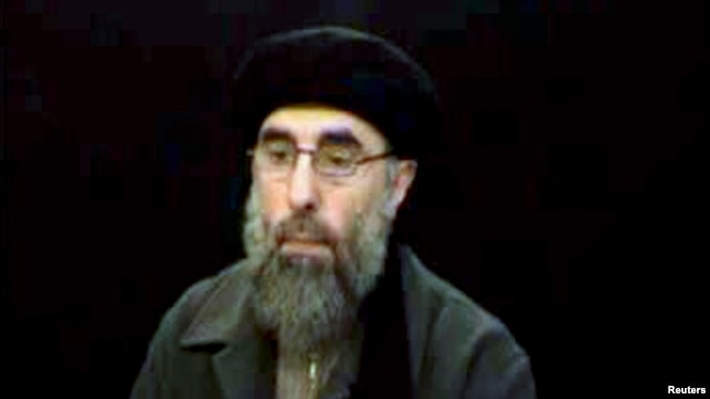 "Gulbuddin Hekmatyar, the leader of Hezb-e Islami, seen here in a 2007 video, was designated a ""global terrorist"" by Washington in 2003."