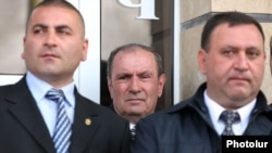 Armenian opposition leader Levon Ter-Petrosian (center) appears at a campaign rally in Kotayk province on April 12.