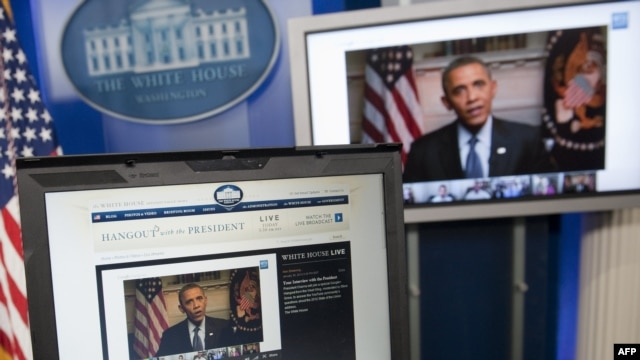 U.S. President Barack Obama participates in an interview with YouTube and Google users from the White House.