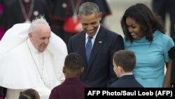 Папа римский Франциск с Бараком Обамой и первой леди Мишель Обама в США