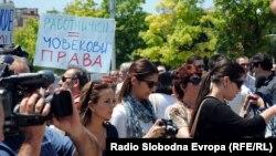 Архивска фотографија: Протест на новинари во Македонија.