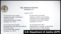 A copy of the letter from U.S. Attorney General William Barr to ranking members of the U.S. Senate Judiciary Committee released by the Justice Department on March 22.