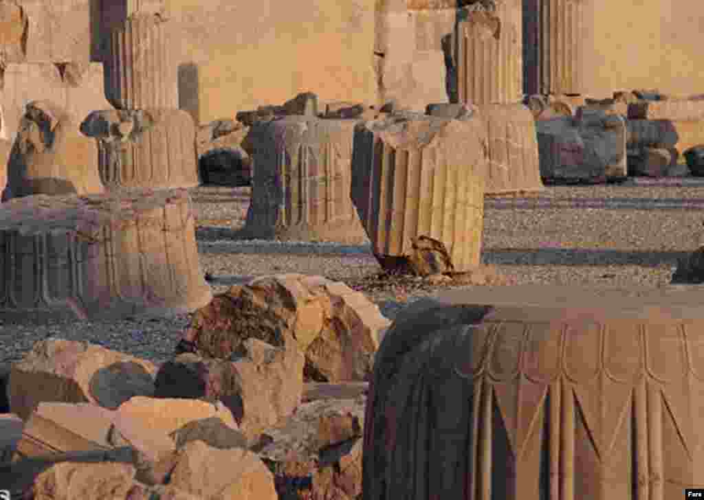 The ruins of the ancient Persian capital at Persepolis (Fars) - Some even called for Persepolis to be bulldozed because it symbolized the monarchy. In 1971, Mohammad Reza Pahlavi had entertained the world's leaders in a tent city at Persepolis for a celebration of 2,500 years of Persian monarchy.