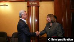 Former President of Armenia Serzh Sarkisian meets with U.S. Ambassador Lynne Tracy, 5Nov2019