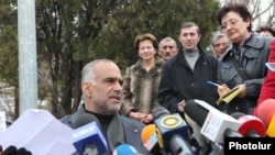 Opposition leader Raffi Hovannisian holds a news conference in Yerevan's Liberty Square on March 22.