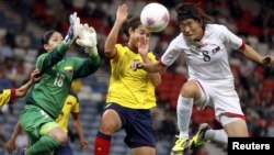 Pamje nga ndeshja e futbollit për femra Koreja Veriore - Kolumbia në Olimpiadë