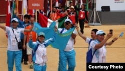 Казахстанская команда на 21-х Всемирных трансплант-играх в испанском городе Малага. 25 июня 2017 года.