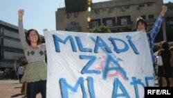 Sa protesta učenika Gimnazije, Foto: Savo Prelević