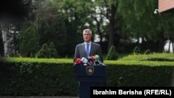 Presidenti i Kosovës, Hashim Thaçi gjatë një konference për media në Prishtinë.
