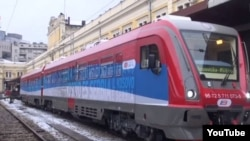 "A train bearing the words ""Kosovo is Serbia"" in 21 languages stopped just short of Serb-dominated northern Kosovo on January 14."