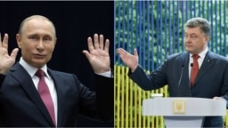 Президент України Петро Порошенко (п) та лідер Росії Володимир Путін, фотоколаж