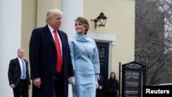 АҚШ-тың жаңа сайланған президенті Дональд Трамп пен зайыбы Меланья Трамп. Вашингтон, 20 желтоқсан 2017 жыл.