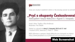 Оголошення на чеському сайті про вечір пам'яті Василя Макуха, Прага, 5 листопада 2013 року