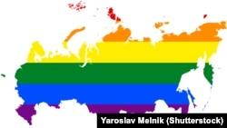 Жыныстық азшылық өкілдерінің Ресей картасы түрінде жасалған плакаты.