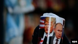 A mug depicting Trump and Putin for sale in St. Petersburg on the U.S. president's inauguration day, January 20.