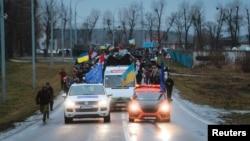 Акція «Автомайдану» поблизу резиденції тодішнього президента України Віктора Януковича, 12 січня 2014 року