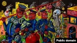 Олекса Манн. Нічна варта, або наряд ППС, що збирає літнього вечора данину в районі Південної Борщагівки 2010, полотно, акрил