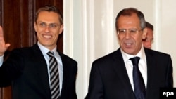 "Finnish Foreign Minister Alexander Stubb (left), seen here during a November 2008 meeting with Russia - Foreign Minister Sergei Lavrov, says ""there's a level of mutual dependence"" with Russia."