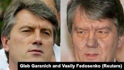 Два фото украинского лидера оппозиции Виктора Ющенко, сделанные 4 июля 2004 (слева) и 1 ноября 2004