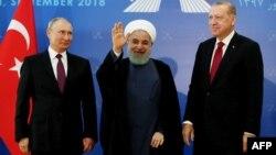 Иран, Орусия, Түркия президенттеринин Тегеран саммити. 7-сентябрь, 2018-жыл.