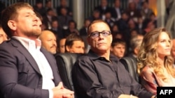 Hilary Swank (right) with Belgian actor Jean-Claude Van Damme (center) and Chechen leader Ramzan Kadyrov (left) at the latter's lavish birthday party last year.