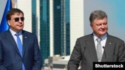 Украина. Петр Порошенко и Михаил Саакашвили. Одесса, 25.08.2015