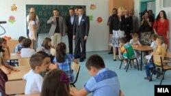 """Прв училиштен ден во новото основно училиште """"Александар Македонски"""" во општина Аеродром."""