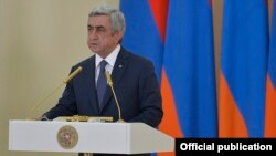 Armenia - President Serzh Sarkisian delivers a speech, Yerevan, 12Feb2016.