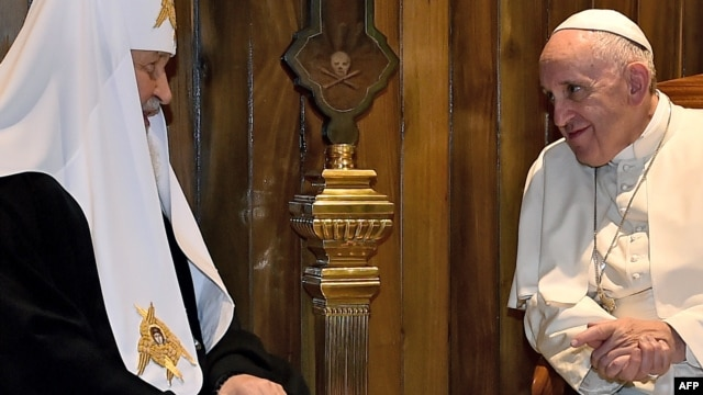 Pope Francis (right) meets with the head of the Russian Orthodox Church, Patriarch Kirill, in Havana on February 12 -- the first such meeting in almost 1,000 years.