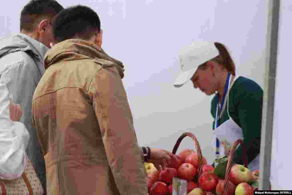 Купившие яблоки на ярмарке жители говорят, что местные фрукты намного вкуснее привозных китайских.