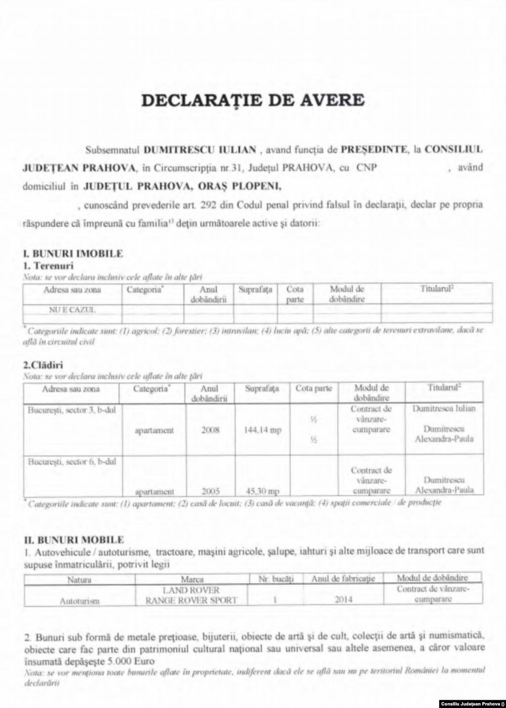 Declarație de avere - Iulian Dumitrescu