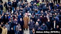 Azerbaijan. Baku. Protest action in Sovetsky street in Baku-Abbas Atilay,RFE/RL
