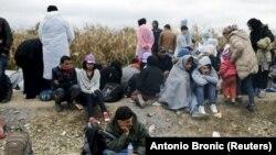 Izbjeglice u blizini naselja Strošinci, 26. rujna 2015.
