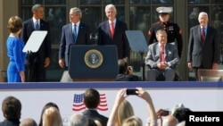 Former first lady Laura Bush, President Barack Obama, former President George W. Bush, former President Bill Clinton, former President George H.W. Bush, and former President Jimmy Carter (left to right) gathered for the April 25 ceremony in Dallas, Texas.