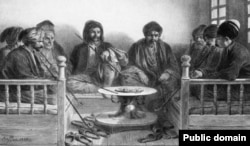 Крымдык армяндар жана татарлар кофе ичип отурушат. Огюст Раффэ тарткан сүрөт.