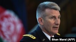 U.S. Army General John Nicholson, commander of U.S. forces in Afghanistan, takes part in a press conference in Kabul on August 24.