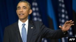 Барак Обама выступает в Таллине 3 сентября 2014 года.