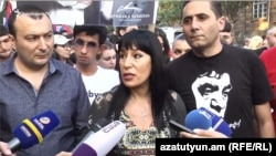 Armenia -- The Prosperous Armenia Party's mayoral candidate Naira Zohrabian talks to reporters while campaigning in Yerevan, 19 September 2018.