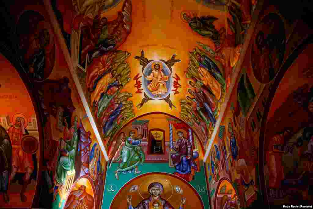 An explosion of color on the ceiling of the Serbian Orthodox monastery in Zitomislici. The monastery dates from 1566, and took more than 40 years to complete.