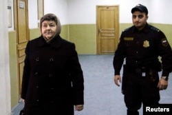 Maria Savchenko, mother of Ukrainian pilot Nadia Savchenko, arrives at the Moscow hearing on February 10.