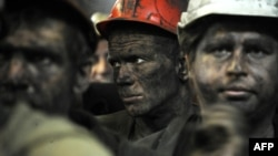 Minatorët e minierës së Zasyadkos, në Donetsk më 6 qershor, 2014