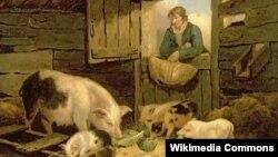 Джордж Морланд, «Хлопец заглядвае ў сьвінарнік» (1794)