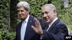 U.S. Secretary of State John Kerry (left) meets with Israeli Prime Minister Benjamin Netanyahu in Rome.