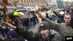 Шествие радикальных националистов в центре Москвы