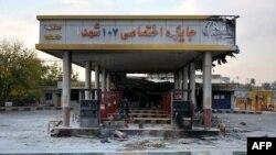 Իրան - Վրդովված իրանցիները հրկիզել են բենզալցակայանը, Էսլամշահիր, 18-ը նոյեմբերի, 2019թ.