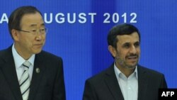 Генералниот секретар на ОН Бан Ки Мун и иранскиот претседател Махмуд Ахмадинеџад