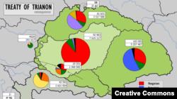 Венгрия после Трианонского мира. Светло-зеленым обозначена нынешняя территория страны, темно-зеленым - утраченные земли.