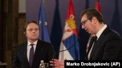 Vásárhelyi Olivér bővítésért felelős biztos Aleksandar Vučić szerb elnökkel Belgrádban, február 6-án