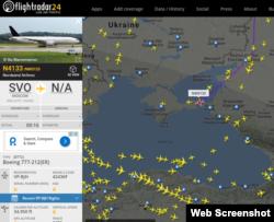 Скрин сайта Флайтконтроль 24 28.06.2017 г.: воздушное судно без указания маршрута следует в Крым